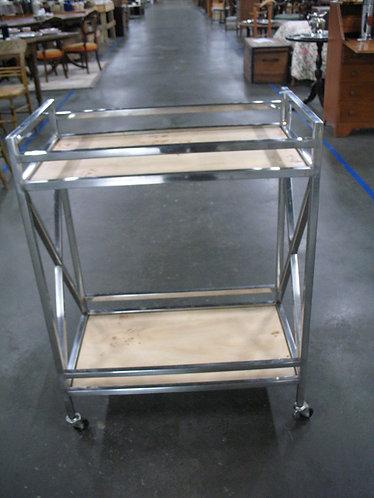 Chrome and Wood Bar Serving Cart
