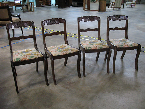 Vintage Tell City Chair Co. Mahogany Chairs with Oriental Upholstery Set of 4