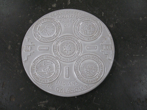 Vintage Frankoma Seals of Five Civilized Tribes OK Pottery Trivet