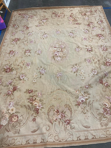 Vintage Pink/Cream/Yellow Floral Scrollwork Petit Point 9'x12' Area Rug