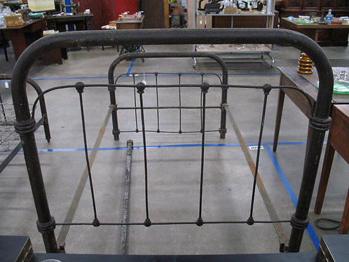 Antique Cast Iron Twin Bed Frame with Metal Side Rails
