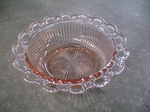 Vintage Anchor Hocking Old Colony Ribbed Pink Lace Edge Bowl