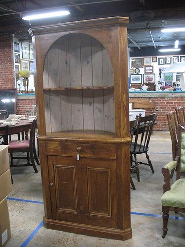 Vintage Wood Corner Cottage Display Cabinet