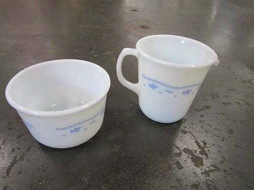 Vintage Pyrex Corelle Morning Blue Creamer & Sugar Set