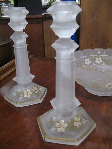 Antique Val St. Lambert Frosted Glass Candlesticks and Console Bowl Set