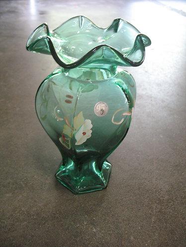 Fenton 95th Anniversary Handpainted/Artist Signed Emerald Green Vase