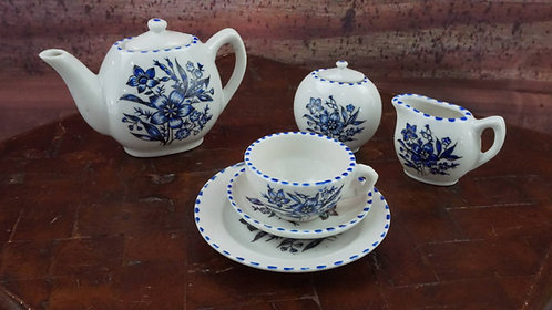 Miniature Tea Set - Sonsco Real Chinaware, Blue Flowers