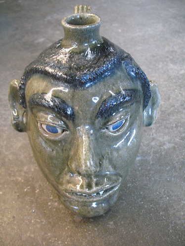2002 Michael Crawford Artist Signed Pottery Face Jug