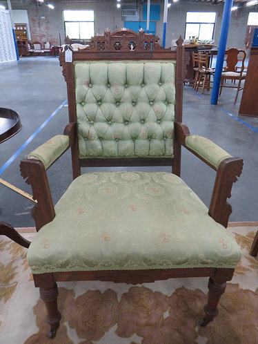Antique Eastlake Kings Chair, Green Button Back wth Casters