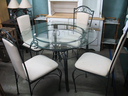 Metal and Glass Dining Table with Four Dining Chairs