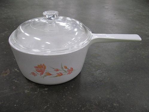 Vintage Corning Ware Peach Floral 1.5 L Sauce Pan