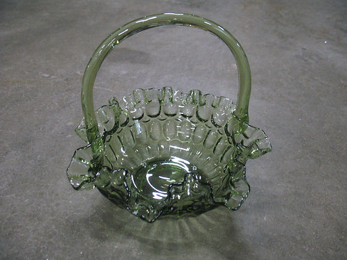 Vintage Federal Glass Green Glass Thumbprint Basket