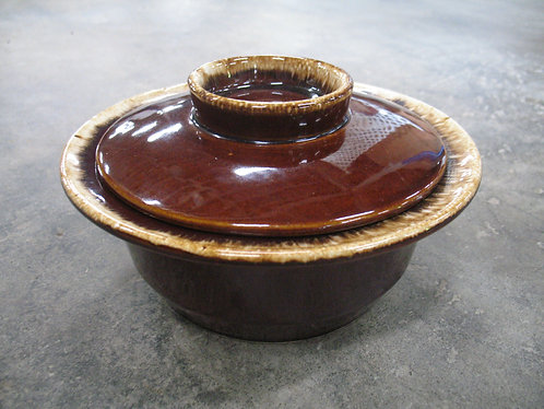 Vintage Hull USA Crestone Brown Drip Round Serving Bowl with Lid