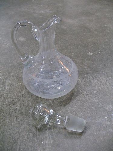 Vintage Handblown & Etched Glass Oil/Vinegar Cruet