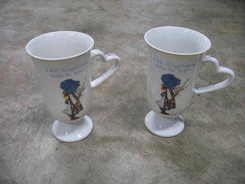 1983 Holly Hobbie Blue Girl Handled Mugs Set of 2