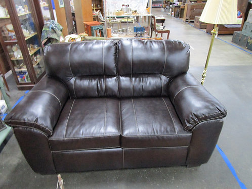 Modern Dark Brown Top Stitched Two Cushion Loveseat