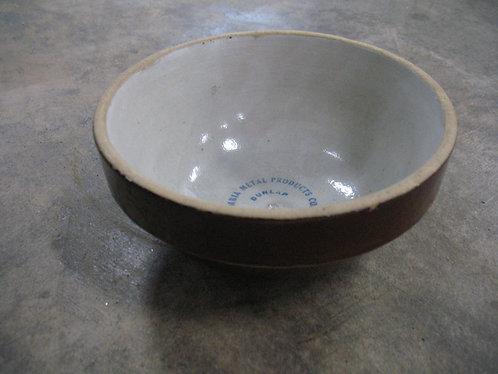 Vintage Brown Stoneware Columbia Metal Products Advertising Dunlap Bowl
