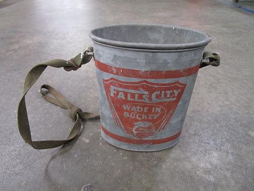 Vintage Falls City Wade in Bucket Aluminum Minnow Bait Pail