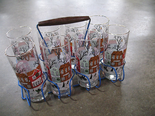 Vintage Glass Holiday Tumblers Set of 8 with Blue Wire Holder