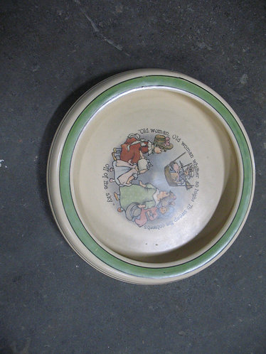 Vintage Roseville Pottery Nursery Rhyme Rolled Rim Bowl