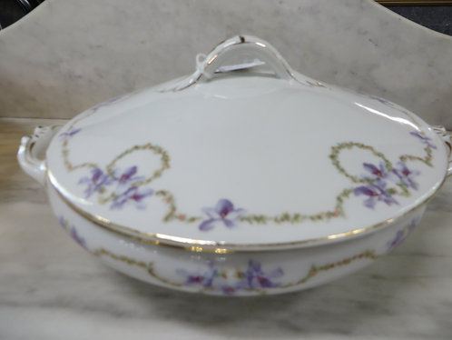 Vintage Karlsbad Austrian Empire Covered Dish with purple flowers