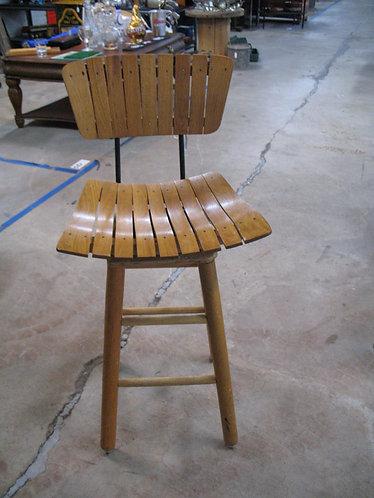 Vintage Wood Slat Counter Height Swivel Bar Stool