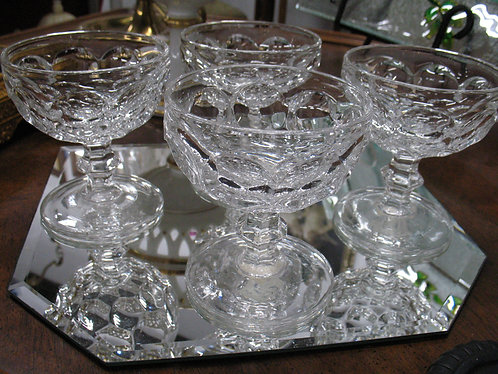 Vintage Heisey Whirlpool Provincial Pattern Dessert Compotes Set of 4