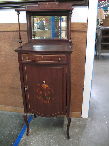 Antique Marquetry Inlay Sheet Music Cabinet