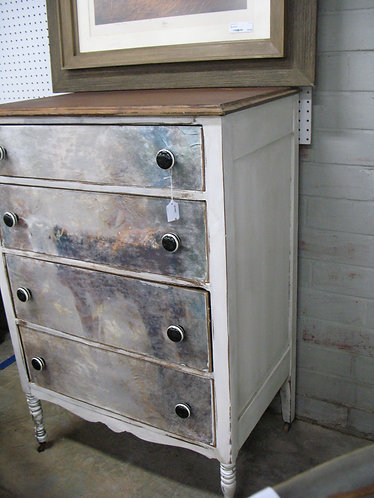 Farmhouse Solid Wood Four Drawer Dresser with Cow Decoupage