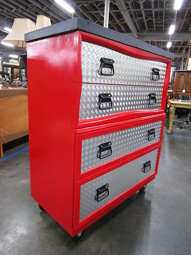Custom Painted Rolling Tool Box Four Drawer Dresser