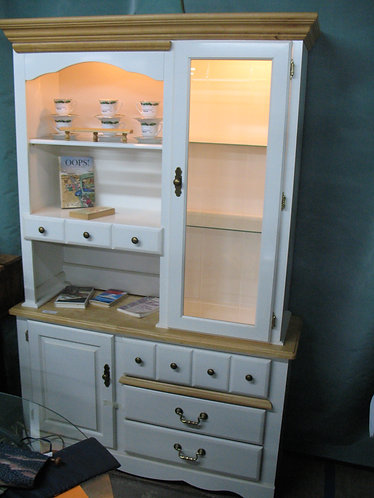 Country White Laminate & Wood Two Piece Display Storage Hutch