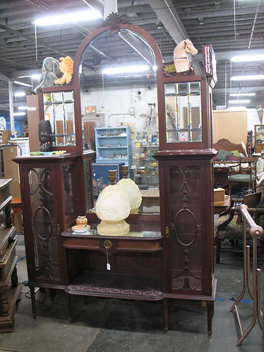 Antique Leaded Glass/Arch Top Mirror Curio Display Open Cabinet