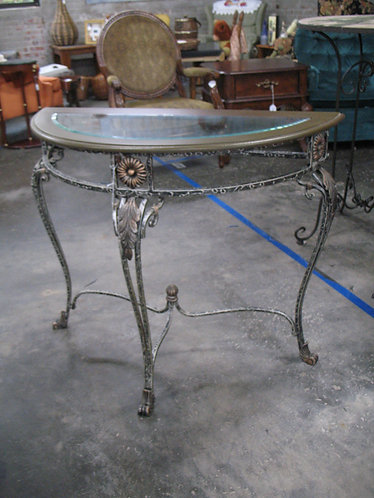 Metal and Glass Half Moon Entryway Table
