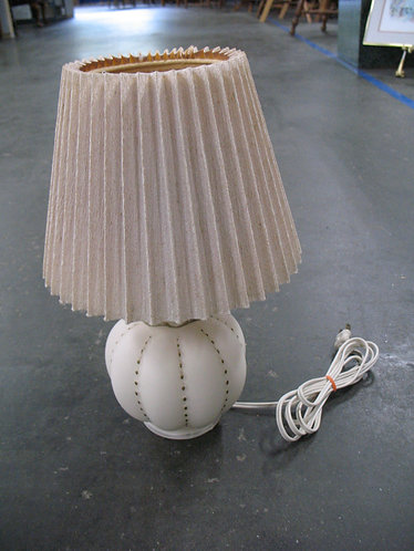 Vintage Satin Glass Boudoir Lamp with Shade