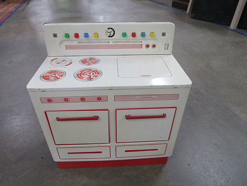 1950's Wolverine USA White/Red Children's Play Kitchen Stove with Accessories