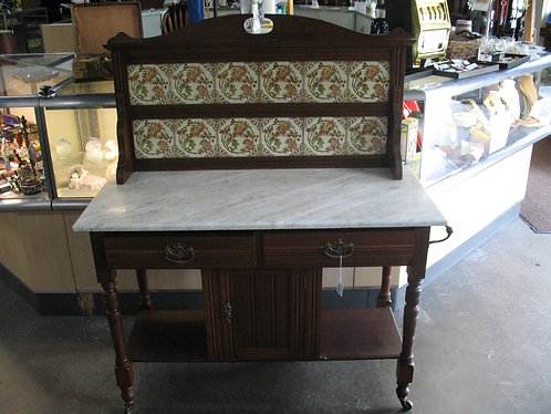 Antique Marble Top Server with Hand Painted Tile Back Splash
