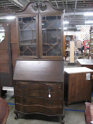 Vintage Serpentine Front Secretary Desk