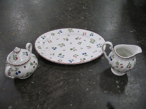 Vintage Johnson Brothers Sweetbriar Creamer/Sugar and Serving Platter