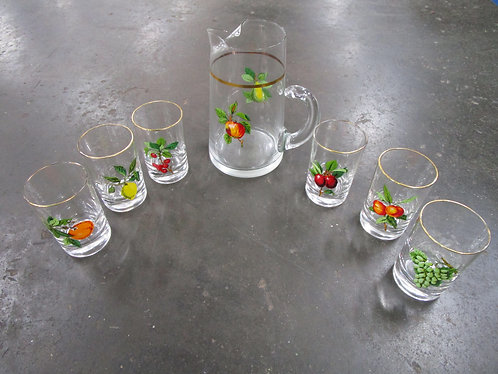Vintage Clear Glass Fruit Motif Juice Pitcher and Eight Glasses Set