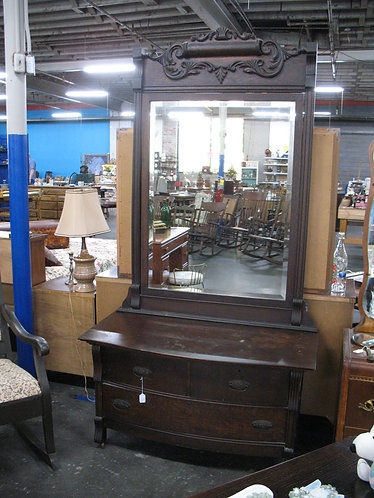 Antique Tiger Oak Lowboy with Attached Oversized Mirror
