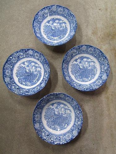 Vintage Liberty Blue England Mount Vernon Bowls Set of 4