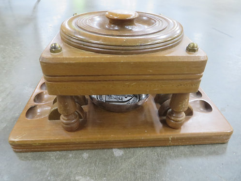 Vintage Walnut Humidor Pipe Rack with Silver Match Tray