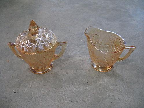 Vintage Jeanette Marigold Carnival Iris and Herringbone Creamer and Sugar Set