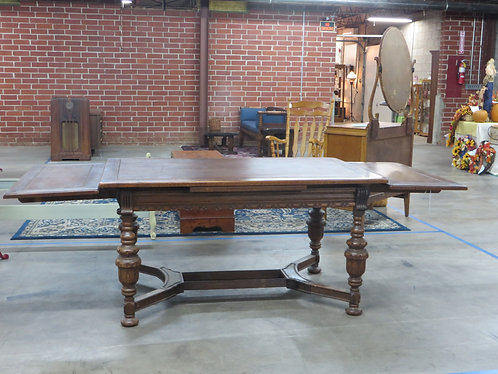 Antique Oak Jacobean Dining Table with (2) Side Pull Outs