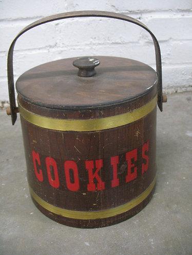 Vintage Wood Firkin Handled Cookie Jar