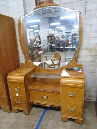 Depression Era Waterfall Vanity with Shield Mirror and Bakelite Handles