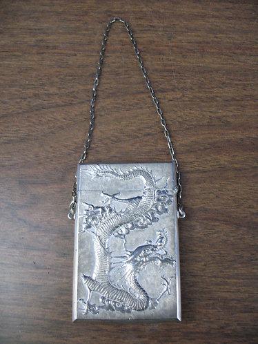 Antique Chinese Export Luen Wo Silver Dragon Calling Card Case Box