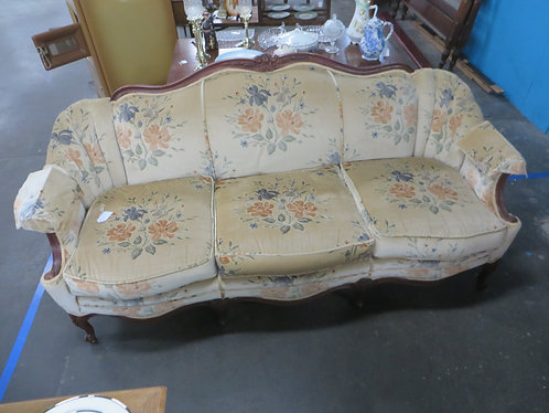 Vintage Floral Velour Upholstery Victorian Couch