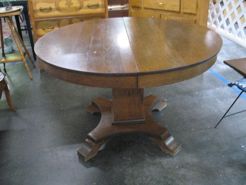 Vintage Oak Pedestal Dining Table with Two Leaves