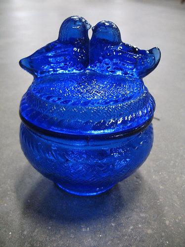 Vintage Cobalt Blue Glass Lovebirds Candy Trinket Dish with Lid